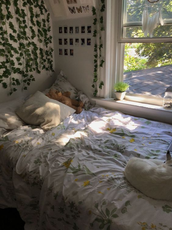 Comfortable Bedroom with Synthetic Vines