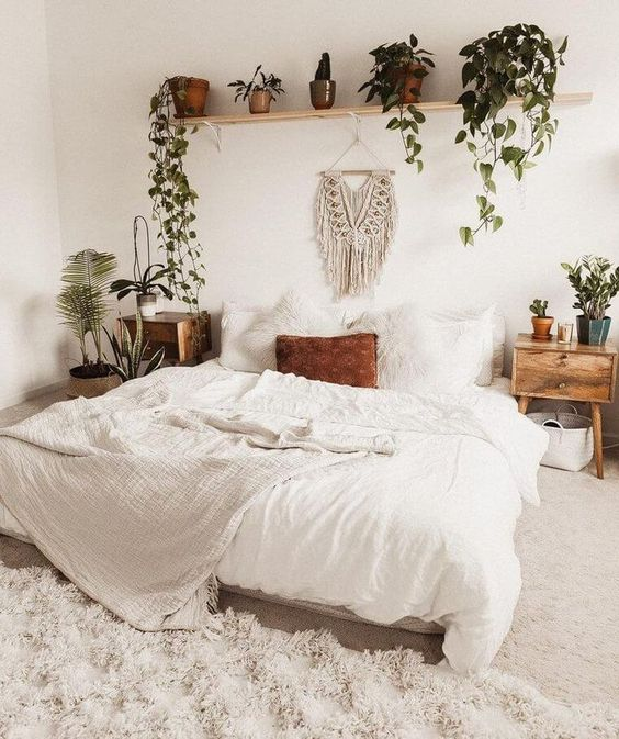 Simple-Looked Bedroom with Small Plants