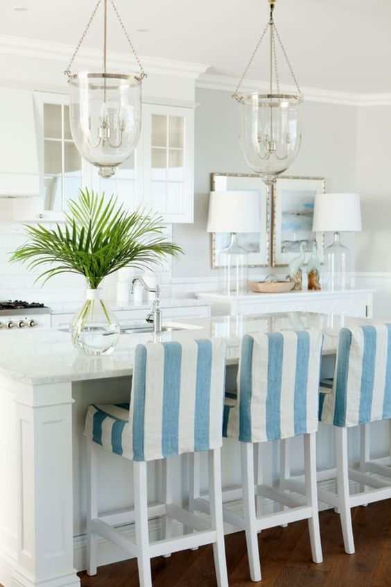 Blue and White Striped Chair for Kitchen Bar