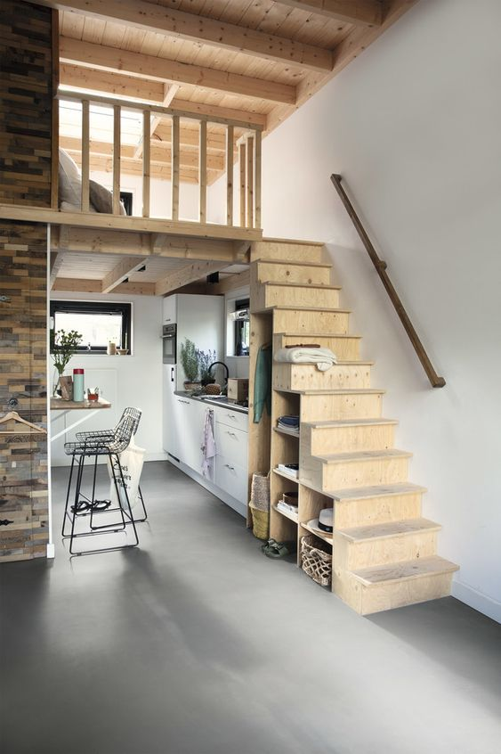 Loft Stairs as A Storage Place