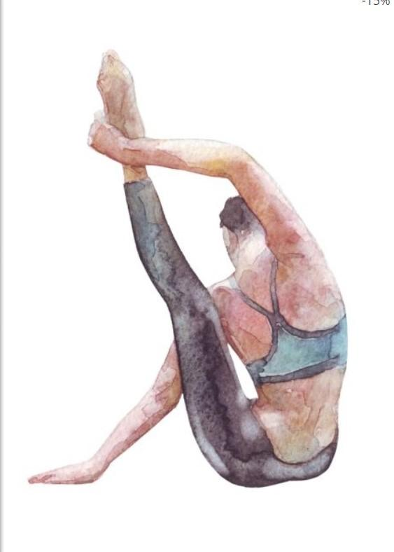 Watercolor Painting of a Woman Doing Yoga Poster